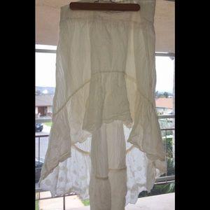 White cotton hi low Free People skirt